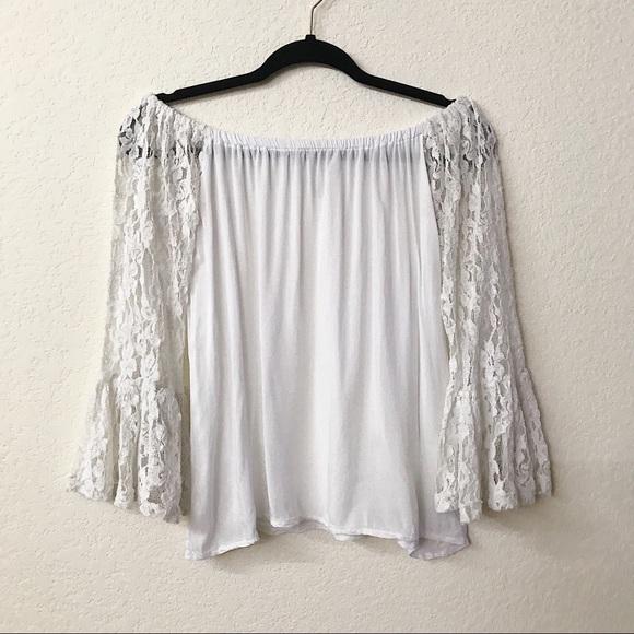 2a4dab0670120 Elan Tops - Elan White Long Sleeve Lace Off Shoulder Blouse